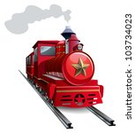 Old steam locomotive with golden star, vector illustration