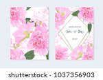 wedding invitation with peonies ... | Shutterstock .eps vector #1037356903