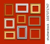 set of picture frames on red... | Shutterstock . vector #1037371747