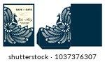 laser cut template. peacock... | Shutterstock .eps vector #1037376307