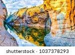 mountain river reflection scene | Shutterstock . vector #1037378293