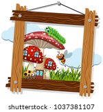 wooden frame with bugs on... | Shutterstock .eps vector #1037381107