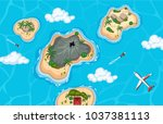 aerial view of island and plane ... | Shutterstock .eps vector #1037381113