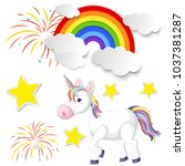 cute unicorn and rainbow on... | Shutterstock .eps vector #1037381287