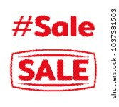 hashtag sale halftone label tag.... | Shutterstock .eps vector #1037381503