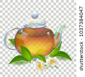 tea. kettle. glass transparent... | Shutterstock .eps vector #1037384047