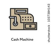 cash machine vintage antique... | Shutterstock .eps vector #1037384143