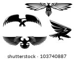 set of heraldry eagles  hawks... | Shutterstock . vector #103740887