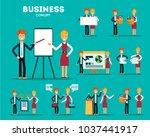 set of businessmen cartoon... | Shutterstock .eps vector #1037441917