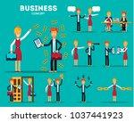 set of businessmen cartoon... | Shutterstock .eps vector #1037441923