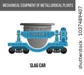 railway slag car. vector... | Shutterstock .eps vector #1037489407