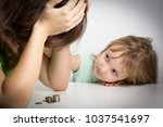 small family. single mother has ... | Shutterstock . vector #1037541697