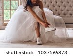 modern bride. attractive young... | Shutterstock . vector #1037566873