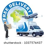 free delivery sign. a...
