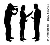 news reporter while interview... | Shutterstock .eps vector #1037586487