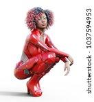 3d beautiful tall woman in... | Shutterstock . vector #1037594953