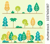 different trees and bushes set. | Shutterstock .eps vector #1037606587