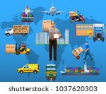 global logistics network.... | Shutterstock .eps vector #1037620303