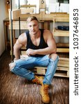 young sexy muscular man   Shutterstock . vector #1037646853
