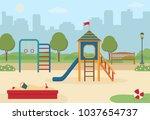 children's playground in the... | Shutterstock .eps vector #1037654737