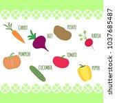 vegetables healthy nutrition of ...   Shutterstock .eps vector #1037685487