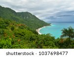 this beautiful beach is located ... | Shutterstock . vector #1037698477