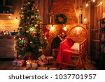 christmas tree in the room with ... | Shutterstock . vector #1037701957