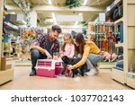 family buying supplies for... | Shutterstock . vector #1037702143