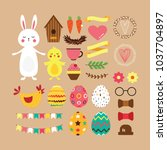 easter set of elements in flat... | Shutterstock .eps vector #1037704897