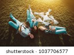 group of three happy people ... | Shutterstock . vector #1037706577