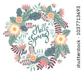 hello spring.greeting card with ... | Shutterstock .eps vector #1037713693