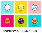 cute easter eggs vector... | Shutterstock .eps vector #1037718007