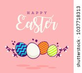 happy easter abstract... | Shutterstock .eps vector #1037718313