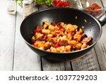 tortilla de patatas. cooking... | Shutterstock . vector #1037729203