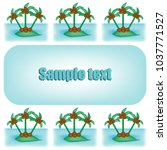 postcard with palms around...   Shutterstock .eps vector #1037771527