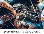 mechanic hand fixing engine... | Shutterstock . vector #1037797213