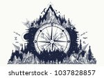 mountain and compass and wind...   Shutterstock .eps vector #1037828857