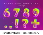 kids vector font in cartoon... | Shutterstock .eps vector #1037888077