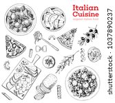 italian cuisine hand drawn set. ... | Shutterstock .eps vector #1037890237