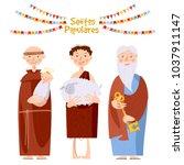 "portuguese festival ""santos... | Shutterstock .eps vector #1037911147"