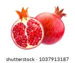 pomegranate isolated on white... | Shutterstock . vector #1037913187