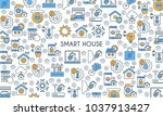 flat line design banner on... | Shutterstock .eps vector #1037913427
