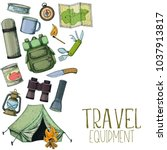 set of travel equipment.... | Shutterstock .eps vector #1037913817