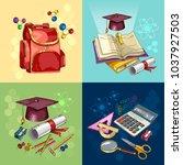 education set. back to school... | Shutterstock .eps vector #1037927503
