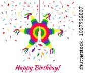 colorful postcard  birthday... | Shutterstock .eps vector #1037932837