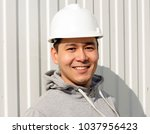 young asian engineer ... | Shutterstock . vector #1037956423