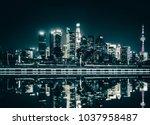 beautiful shanghai skyline at... | Shutterstock . vector #1037958487
