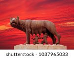 capitoline wolf statue of the... | Shutterstock . vector #1037965033