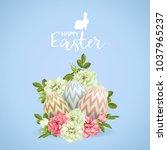 vector 3d easter egg and roses... | Shutterstock .eps vector #1037965237