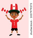 fan of canada national football ... | Shutterstock .eps vector #1037979373